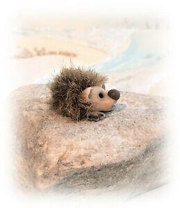 Miniature 1 inch Furred OOAK Tiny Hedgehoge Sculpt Artist Sculpt