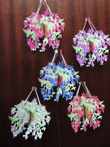 Tattered Lace dado corta 3d Vintage botánicos Fucsia Cesta Colgante X 5 Colores