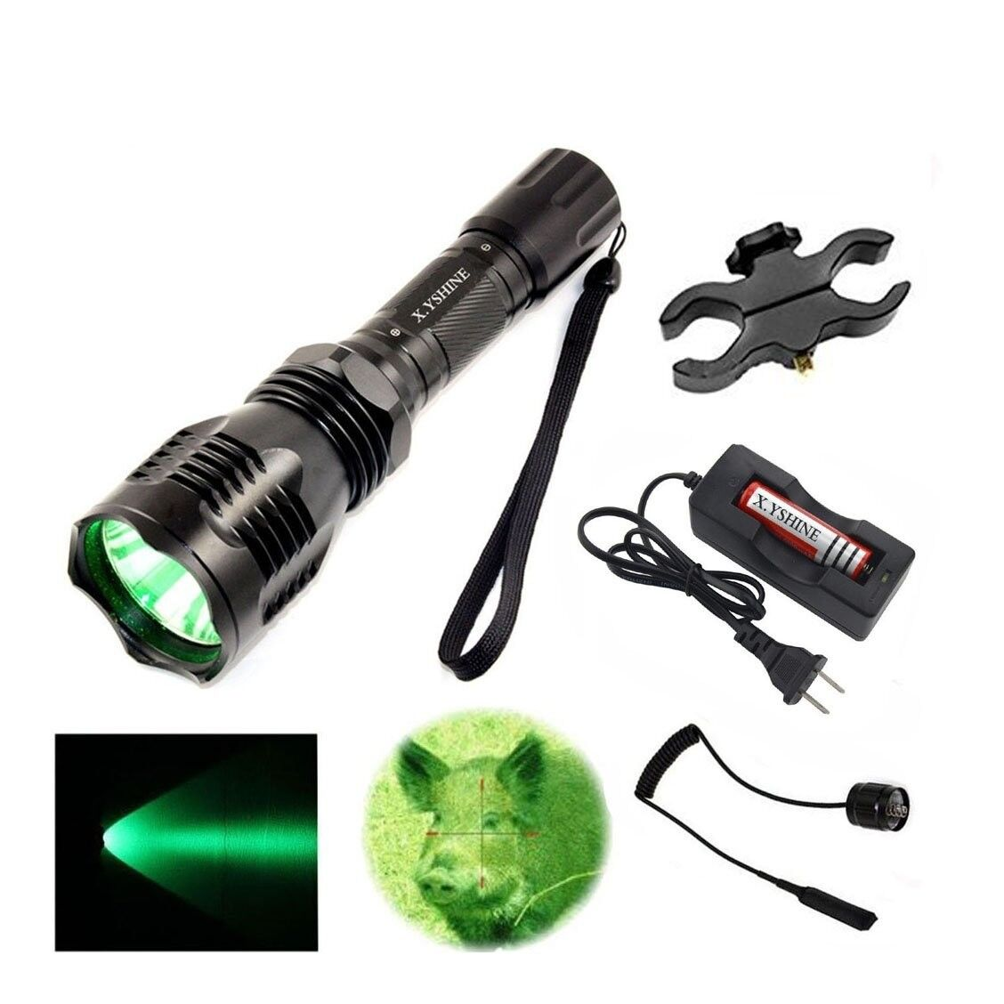 Green Led Hunting Light Kit 500+ yards Coyote, Varmint,  Hog Night Hunt 350 LUMEN  2018 latest