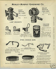 1908 PAPER AD Solar Bicycle Gas Lamp Bright Light Oil Saddles Seats Pedals