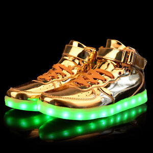 ca4a4a11fe8f75 Women Men Gold Silver USB LED Light Up Shoes High Top Luminous ...