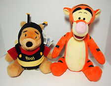 "Disney Talking Moving 9"" WINNIE THE POOH In Bumblebee Costume & 12"" TIGGER Plush"