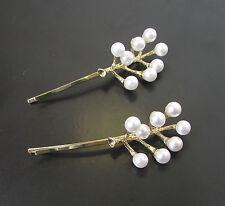 2 x Gold White Pearl Branch Leaf Vine Hair Bobby Pins Bridal Clips Slides 583