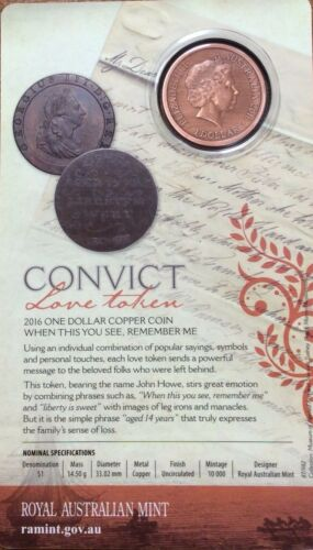 "2016 $1 Dollar CONVICT LOVE TOKEN /"" when this you see remember me /"" Coin on Card"