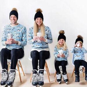Women Mother Baby Kid Warm Winter Knit Beanie Fur Pom Bobble Hat ... ee775c007f2a