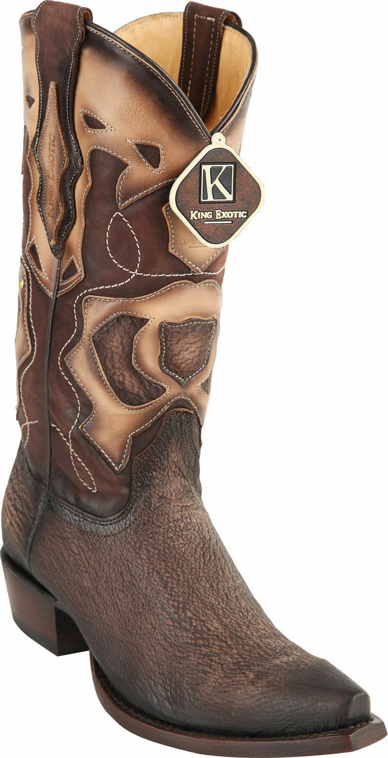 KING EXOTIC BROWN SNIP TOE GENUINE SHARK WESTERN COWBOY BOOT EE 94R0907