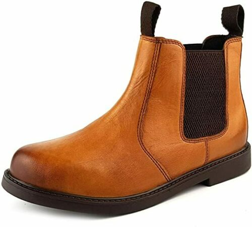 Boys Girls Junior 100/% Leather Pull-On Chelsea Casual Boots Brown Tan FJ Chester
