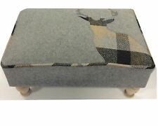 Rectangular Grey and Beige Stag Footstool MIN2443