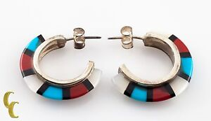 925 Sterling Silver Coral/ Mother Of Pearl/Turquoise Half Crescent Earrings
