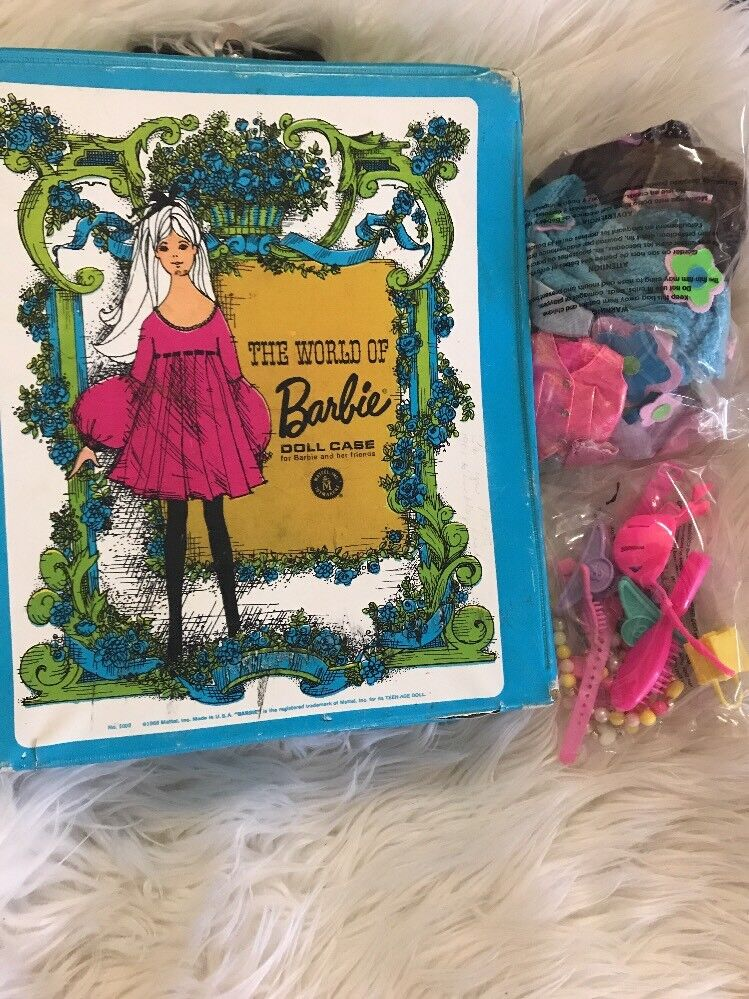 VINTAGE THE WORLD OF BARBIE DOLL CASE 1968 AND VINTAGE BARBIE DOLL CLOTHES LOT