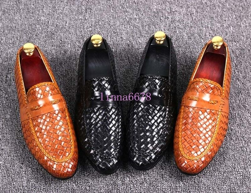 Ta Uomo Woven Slip On Loafers Dress Formal Pointy Toe Shoes Real Pelle Driving