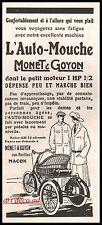 Publicité MONET GOYON Auto Mouche Moto Motocyclette Tricycle vintage ad  1923