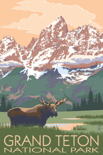Posters, Wood /& Metal Signs Grand Teton Park WY Moose /& Mountains LP Artwork