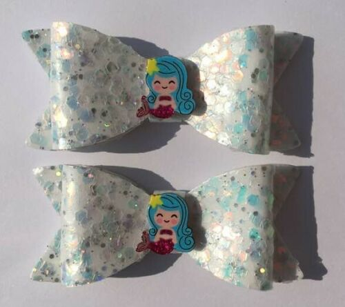 Pair of Sparkle Shimmer  /& Glitter Mermaid Hair Bow Clips Blue Lilac White