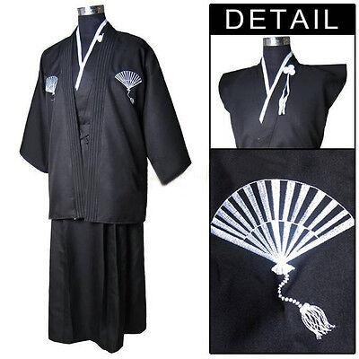 New Man's Suit Black Yukata Japanese Haori Kimono Robe Dress