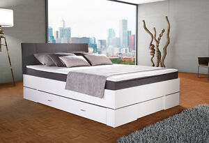 boxspringbett weis mit bettkasten, boxbett globe 140x200cm weiß/anthrazit bettkasten topper in, Design ideen