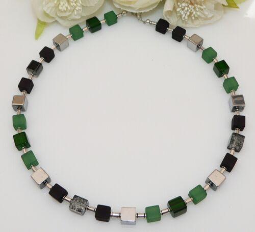 Würfelkette Halskette Perlen Cube Würfel schwarz blau silber mehrfarbig  338g