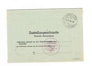 Dr generalgouverment livraison acte dans le district Cracovie 30.6.1943 rare-ent Zustellungsurkunde aus dem Distrikt Krakau 30.6.1943 seltenafficher le titre d`origine nFAor0VX-07152230-185587