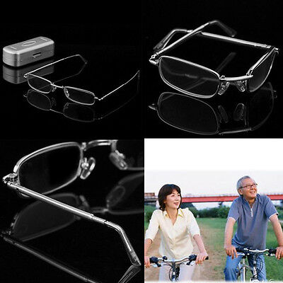 Stainless Reading Glasses Full Frame Folding Pocket Hard Case 1.0 1.5 2.0 2.5 3