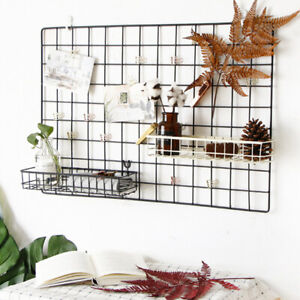 2 PACK WALL MOUNTED MESH WALL METAL WIRE BASKET GRID PANEL HANGING TRAY 40X10CM