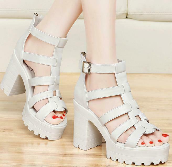 Summer korean Womens Roman block zip Heels Platform Strappy Sandals boots shoes