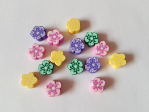 Flower Various Colours Available 15 x Polymer Clay Beads 12mm