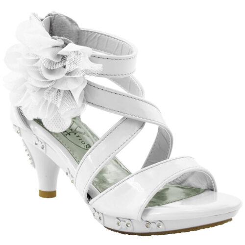 Girl/'s Sandals High Heel Dress Rhinestone Strappy Patent Leather Flower Kid Shoe