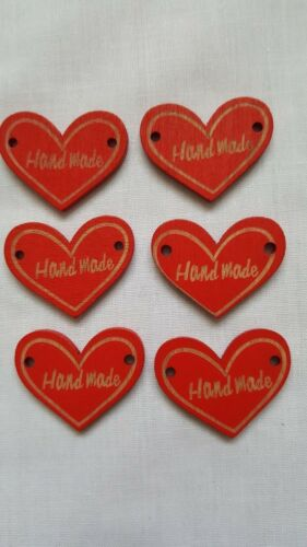 Red Wood Buttons,2 Holes Heart Red Handmade Sewing Buttons,2.3 x 3 cm 10 Pcs