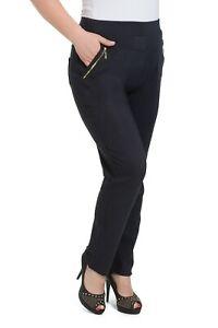 Damen-Hoher-Bund-Stretchhose-Taschen-Gerades-Bein-Hose-2XL-6XL-KZY-W012