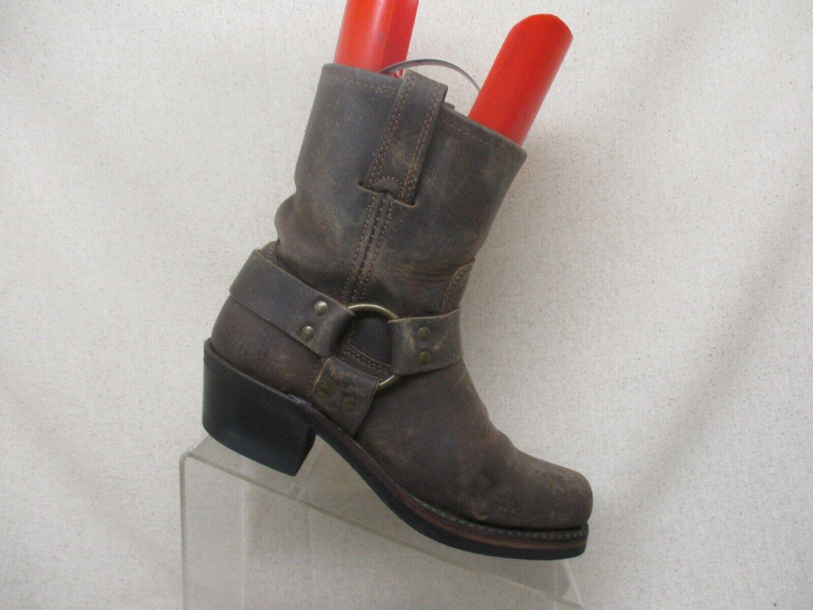 Frye Frye Frye braun Leather Square Toe Harness Motorcycle Stiefel damen Größe 6 M c9708b