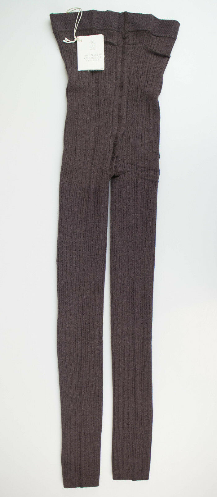 New BRUNELLO CUCINELLI Brown Ribbed Cashmere Blend Footless Tights Size M  675