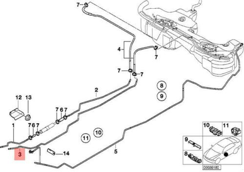 Genuine BMW E46 Cabrio Compact Fuel Feed Pipe Return Line OEM 16126752186