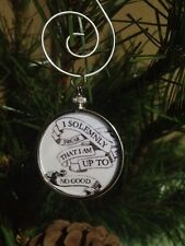"Harry Potter Saying doublesided Silver 1.25"" Ornament I Solemnly Swear White 2W"