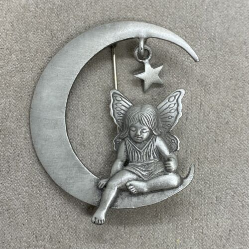 Costume Jewelry Easter Pin Aurora Borealis Stone Brooch Jewelry Accessories Fairy Pin Amazing Vintage JJ Pewter Angle Bright Star Pin