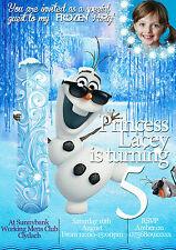 NUOVO Inviti Per Festa Di Compleanno Personalizzati Frozen Olaf 8 biglietti (A6)