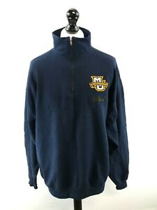 CHAMPION-MARQUETTE-DAD-Mens-Jumper-Sweater-2XL-XXL-Blue-Cotton-Polyester-1-4-Zip