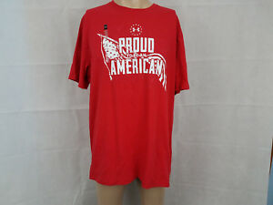bd9558bdeb Details about Under Armour mens short sleeve t shirt Tee NWT red Proud to  be an American L XL