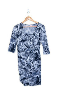 LEONA by Leona Edmiston Navy & White Floral Wrap 3/4 Sleeve Midi Dress - Size 10