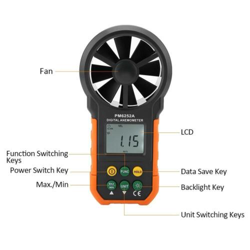 PEAKMETER Digital LCD Anemometer Wind Air Flow Meter for Sailing Surfing