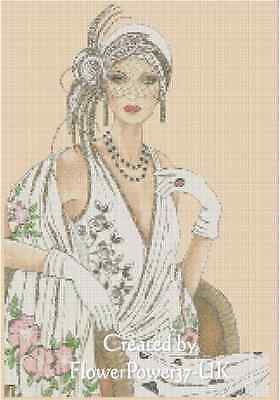 Counted Cross Stitch ART DECO LADY in White Dress - COMPLETE KIT No.6vb-40 KIT
