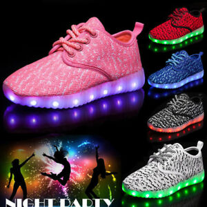 Details About New Boys Girls 7 Led Light Up Luminous Sneakers Children Kids Casual Mesh Shoes