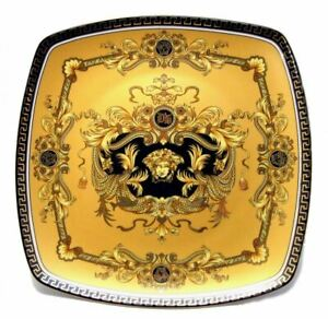 Euro-Porcelain-10-034-Yellow-Square-Dinner-Plate-Greek-Key-Medusa-24K-Gold-plated