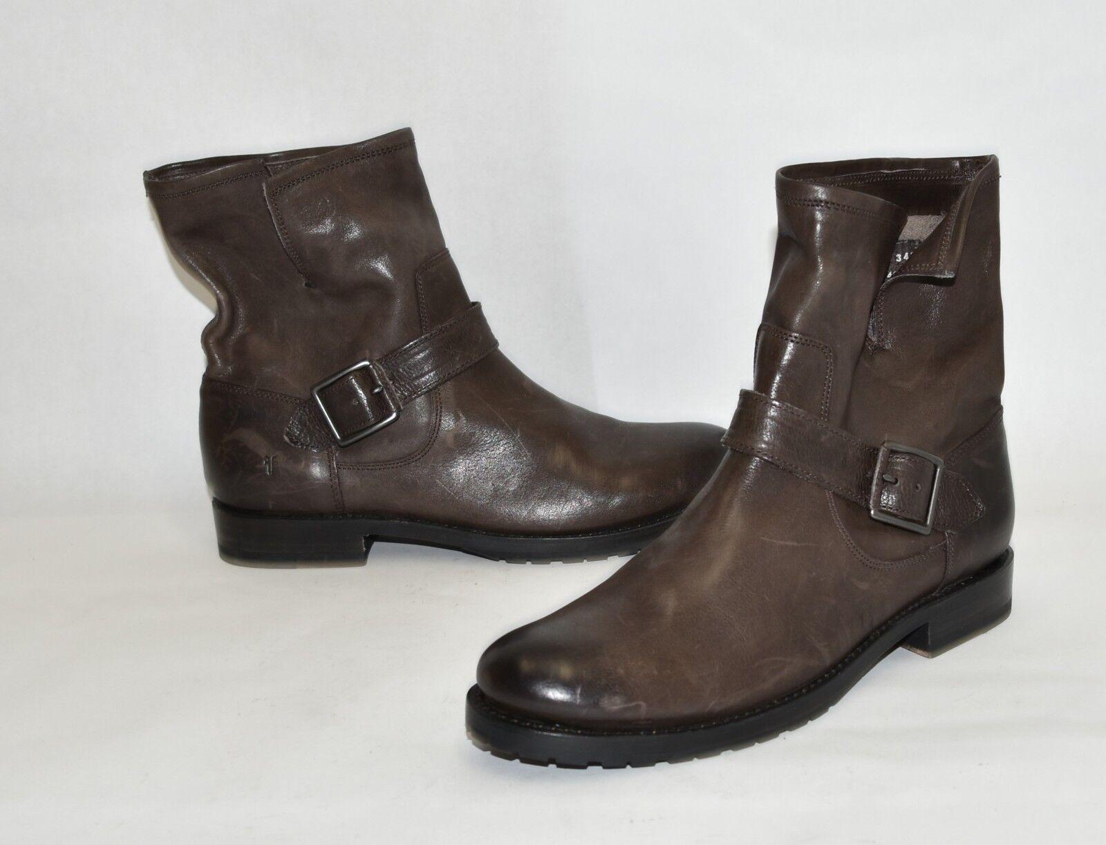 New Frye Natalie Short Engineer Lug Boot Charcoal Brown Pelle Size 9 3478513
