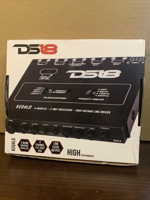 DS18 KEQ4LD 4-Band Equalizer /& 2-Way Crossover with High-Voltage Line Driver,BLACK