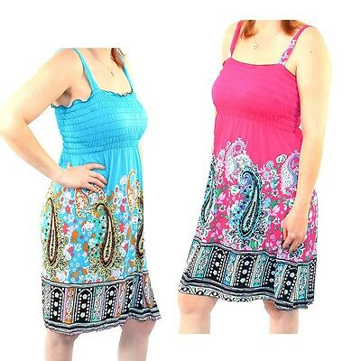 2 Pack: Women's Paisley Pattern Sundresses by RC Collection-Blue & Pink