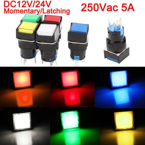 2pcs//5pcs Push Button Switch Square Neon light DC12V 24V Momentary Latching 16mm