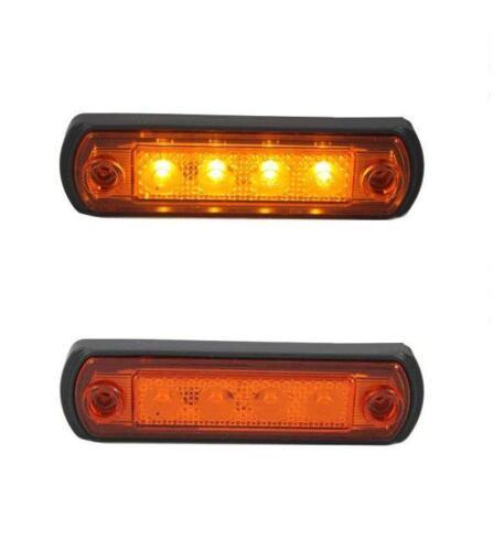 6 x 12V 24V 4 SMD LED ORANGE SIDE MARKER LIGHTS  FOR IVECO SCANIA DAF MAN VOLVO