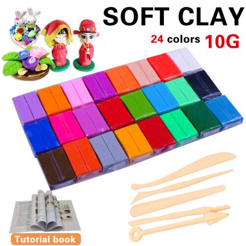 Polymer Ton Kinderknete Set Ofen Modelliermasse Modellie 24 Farben Clay Set