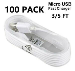 100X Wholesale Lot Micro USB Charger Fast Charging Cable Cord For Android LG HTC