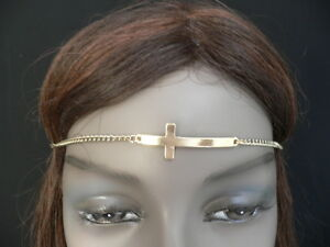 WOMEN-SILVER-METAL-CROSS-HEAD-BAND-CHAIN-GRECIAN-CIRCLET-FASHION-JEWELRY-CHARM